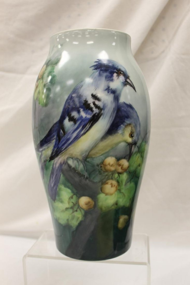 """12 7/8"""" T&V Limoges vase with exceptional blue jay and"""