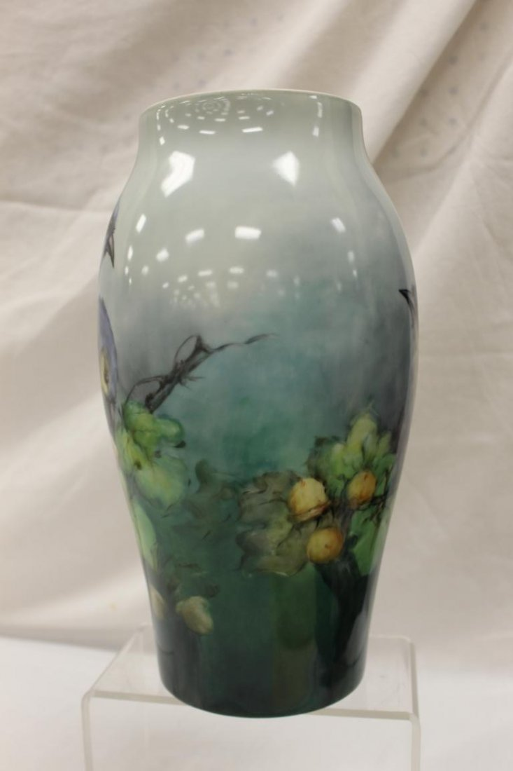 """12 7/8"""" T&V Limoges vase with exceptional blue jay and - 2"""