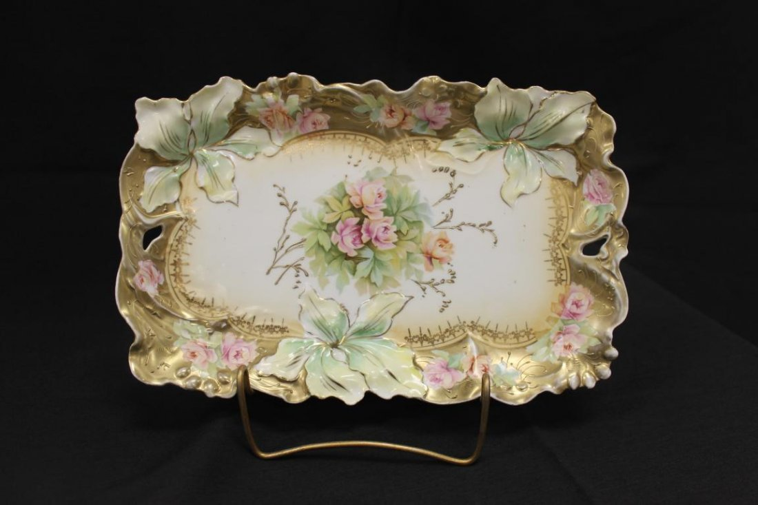 Unmarked RS Prussia Iris variation dresser tray with