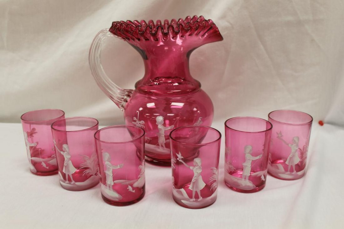 Cranberry 7 pc. Mary Gregory style water set with