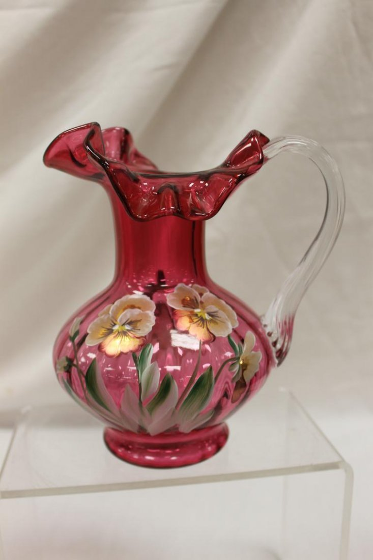 """Fenton 7"""" cranberry pitcher with clear applied reeded"""