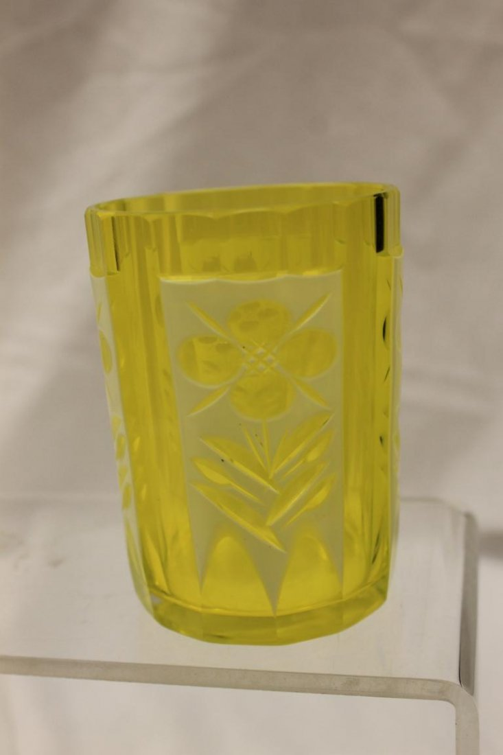 White cut-to-canary tumbler with illegible base mark. - 2