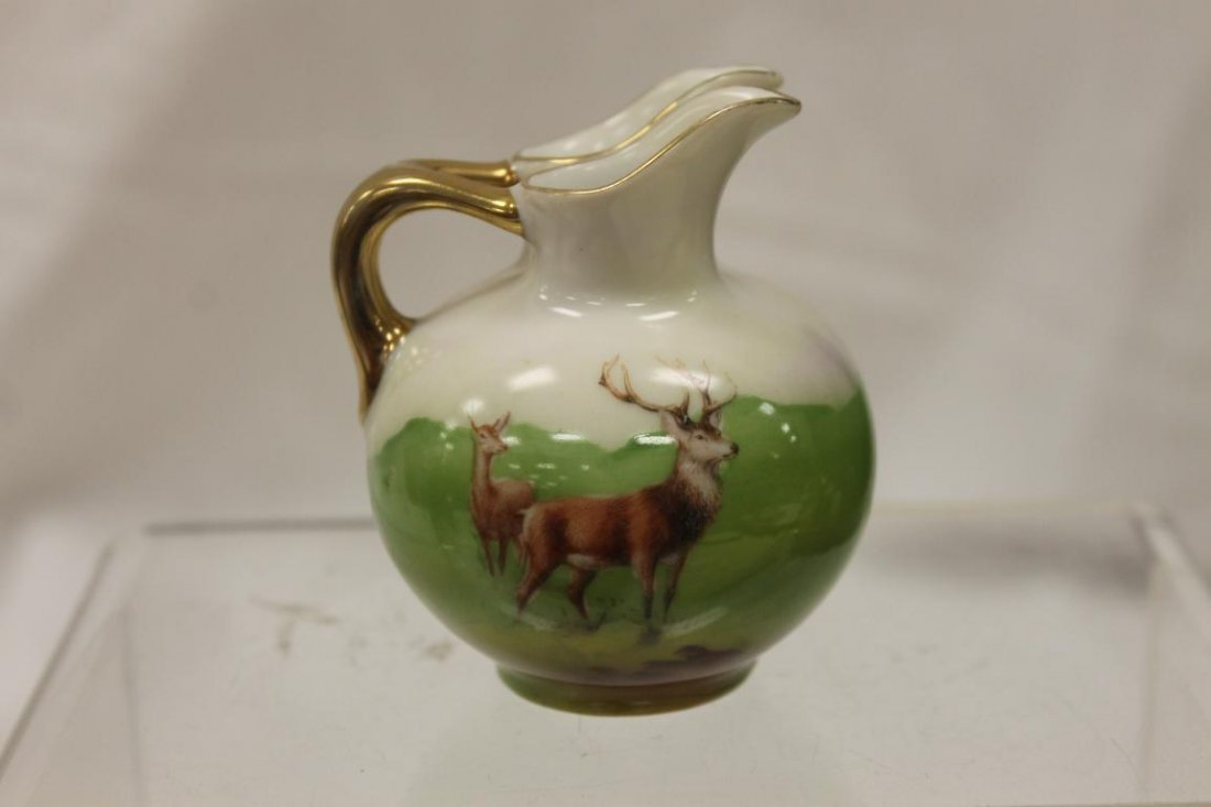 Unmarked Royal Bayreuth double spout pitcher with Stag