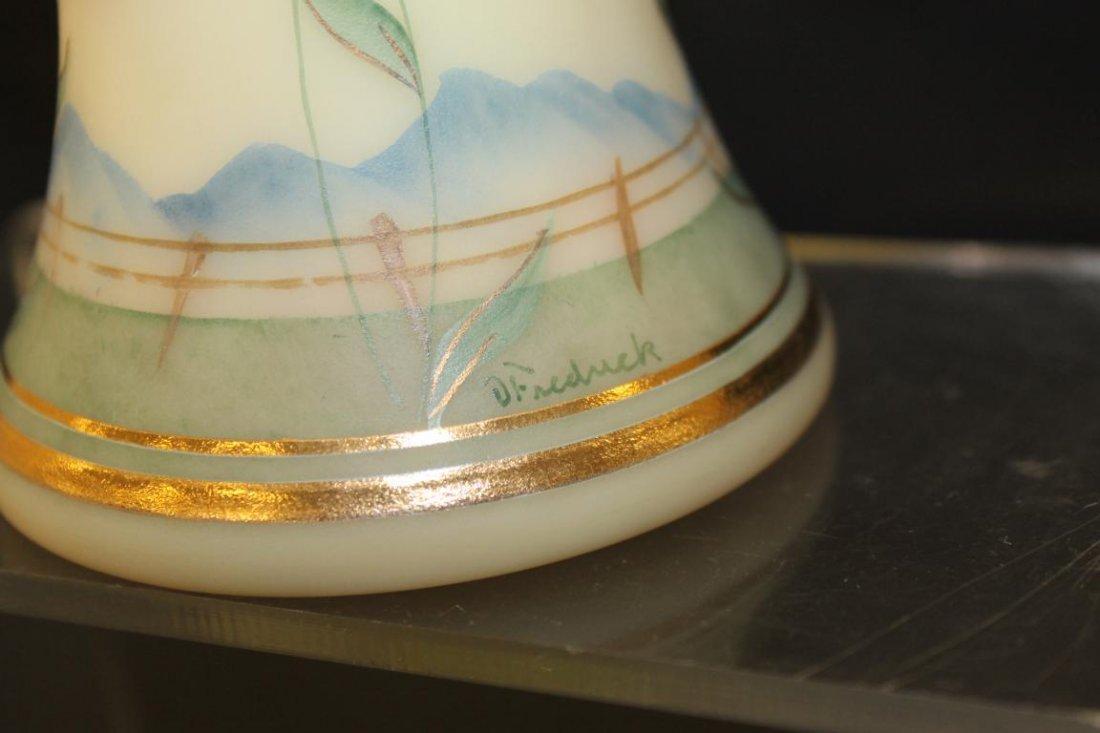 Fenton decorated Burmese twist handle basket siged O. - 3