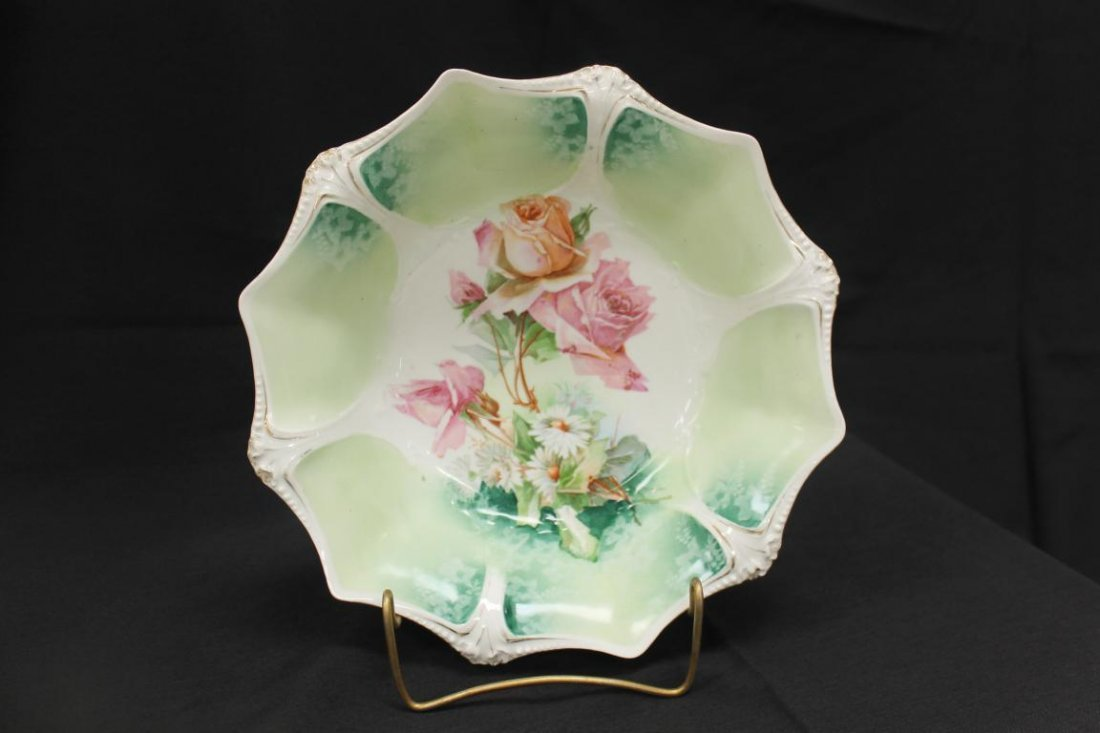 "Red Mark RS Prussia 10 1/2"" bowl with roses and"