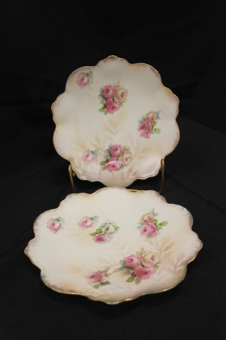 "(2) RS prussia 7 1/2"" dessert plates with red roses and"