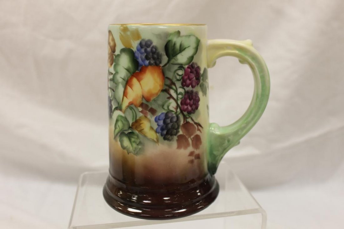 "W. Guerin & Co. Limoges 6"" mug with blackberry"