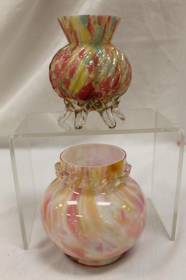 "End-of-day art glass: 4 7/8"" bulbous spatter cased vase"