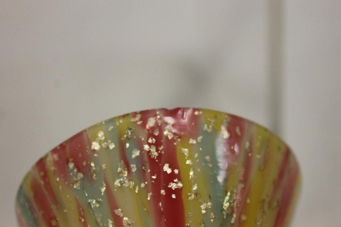 "End-of-day art glass: 4 7/8"" bulbous spatter cased vase - 6"