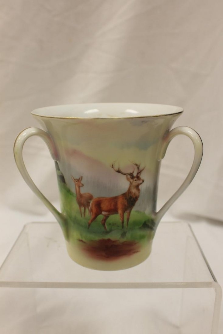 Blue mark Royal Bayreuth 3-handle loving cup with Stag