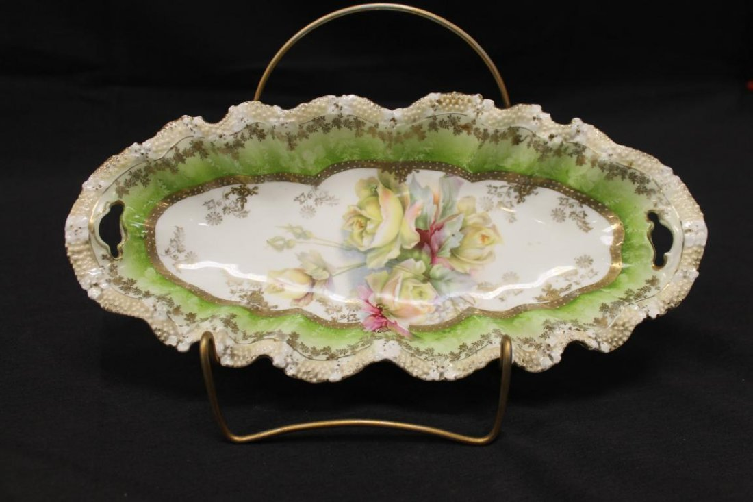 Unmarked RS Prussia stippled floral relish with rose