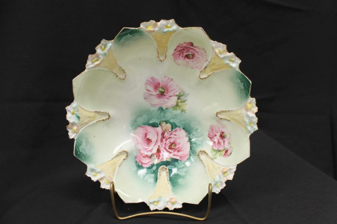 "Red Mark RS Prussia Daisy variation mold 10 1/4"" bowl"