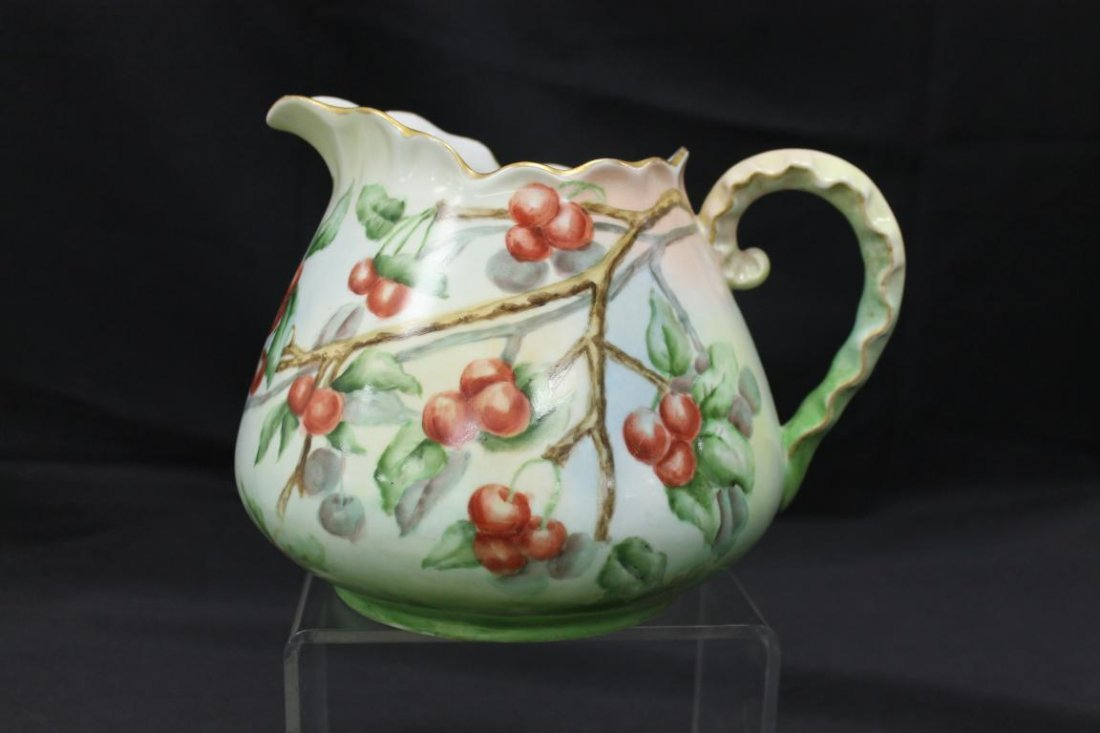 AHF hand painted buttermilk pitcher with cherries