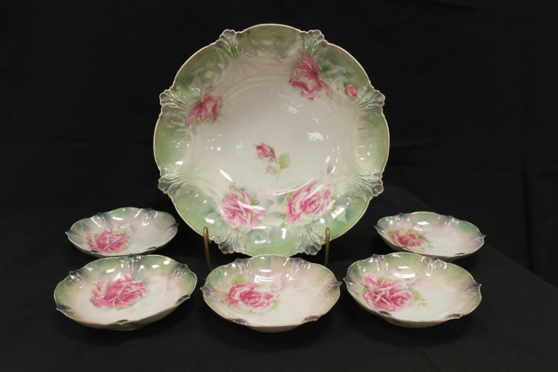 Red Mark RS Prussia rose decorated 6 pc. berry set with