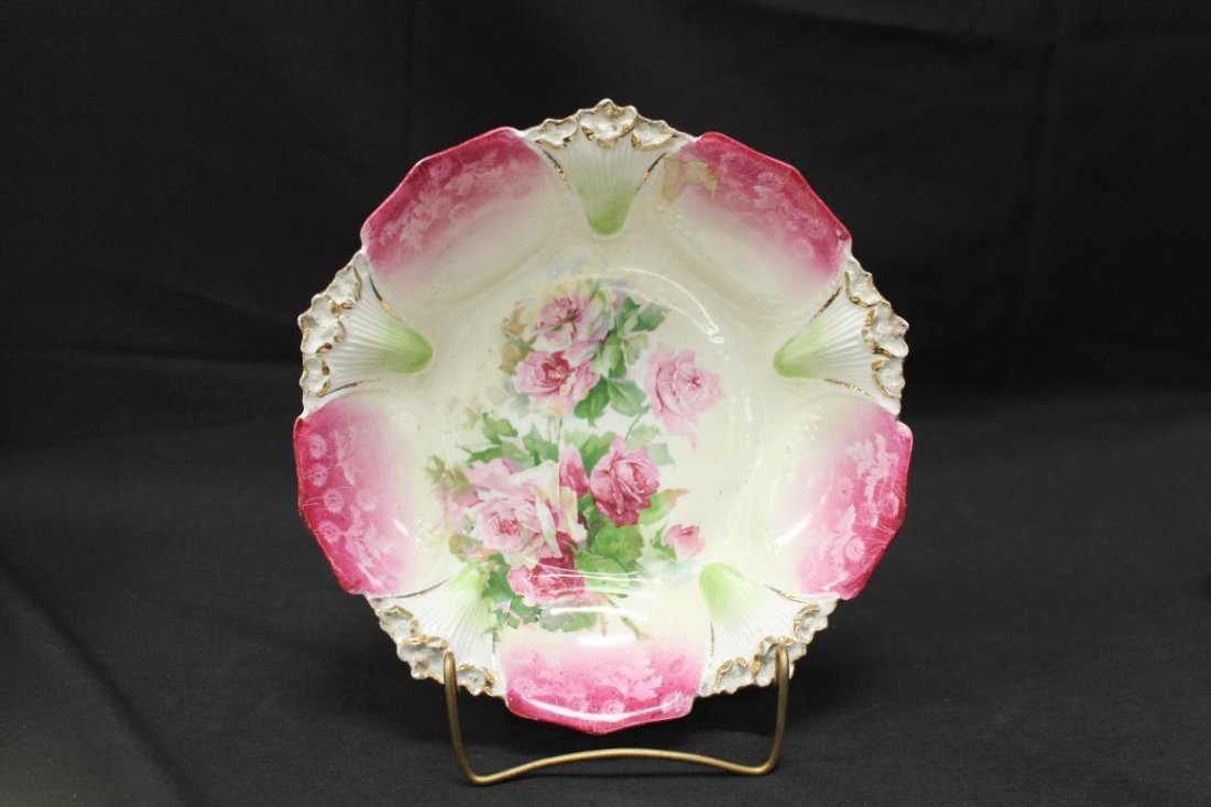 """Red mark RS Prussia 10 1/4"""" bowl with rose decoration,"""