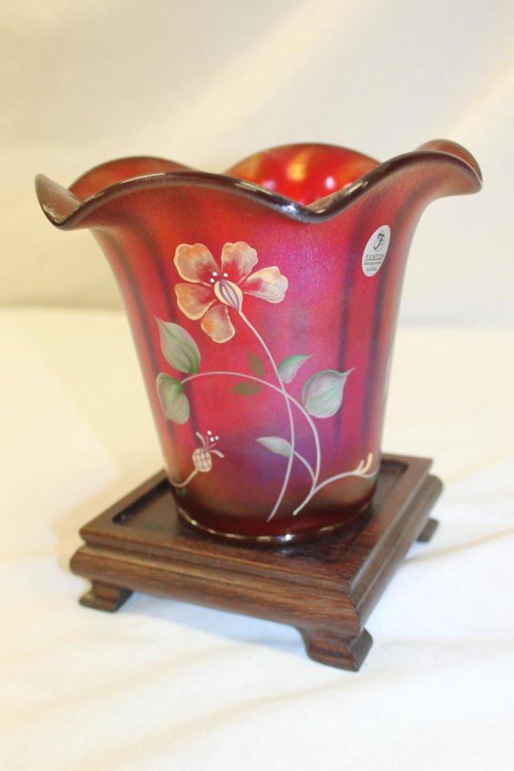 Fenton 100th Anniversary Founders Vase.  Ribbed