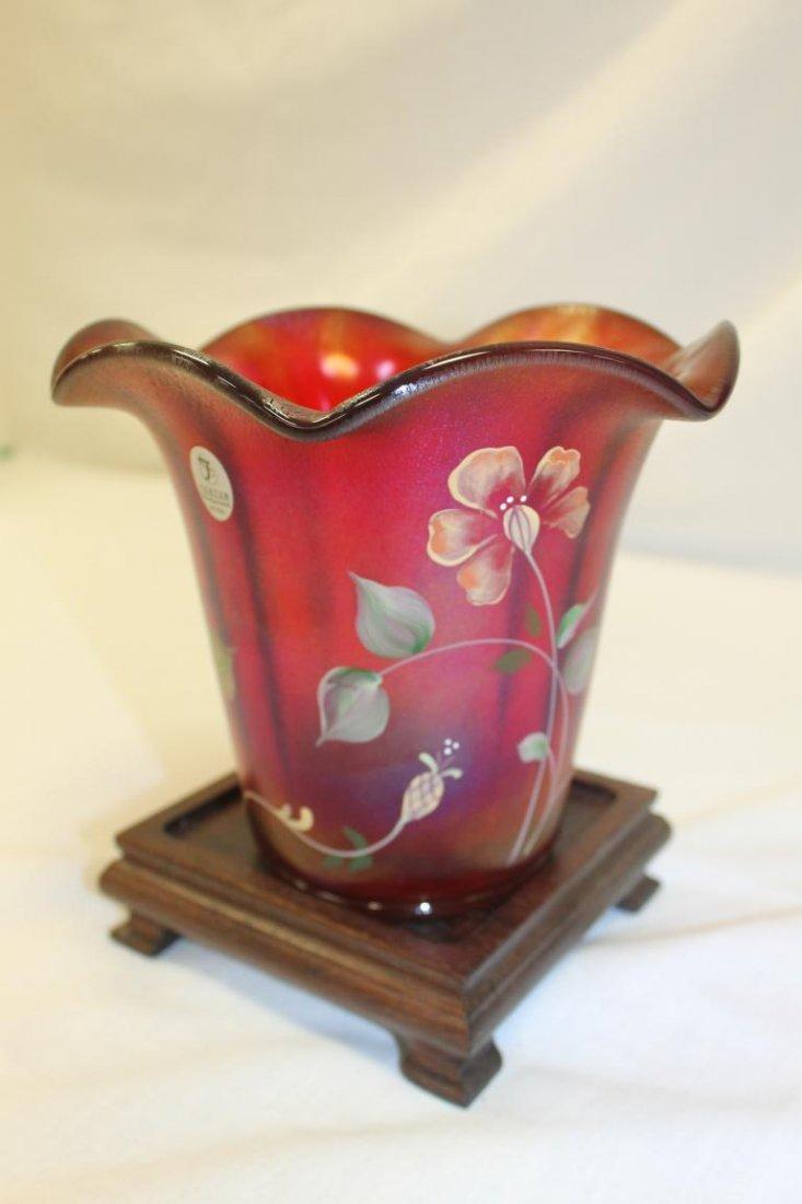 Fenton 100th Anniversary Founders Vase.  Ribbed - 2