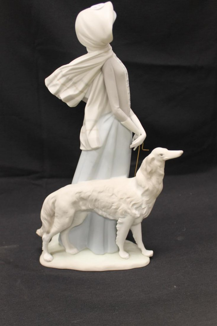 "Lladro figure of a lady with umbrella and dog, 15 3/4"". - 3"