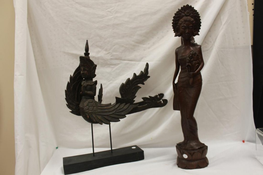 (2) Indonesion or Bali carvings, one with winged