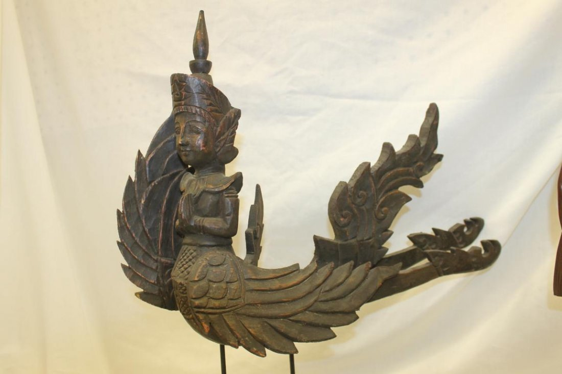 (2) Indonesion or Bali carvings, one with winged - 2