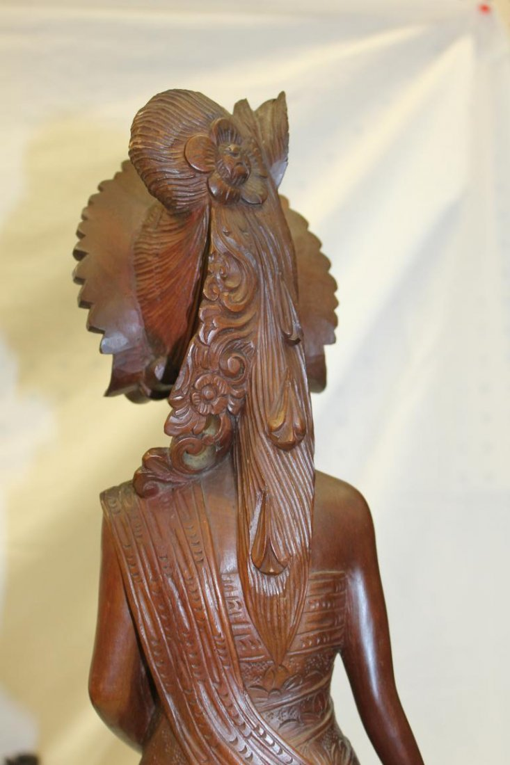 (2) Indonesion or Bali carvings, one with winged - 9