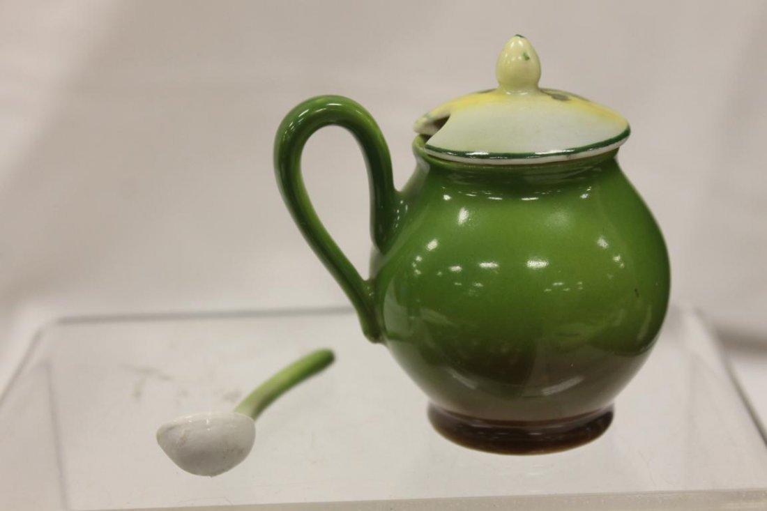 Blue mark Royal Bayreuth mustard pot with spoon and Man - 3