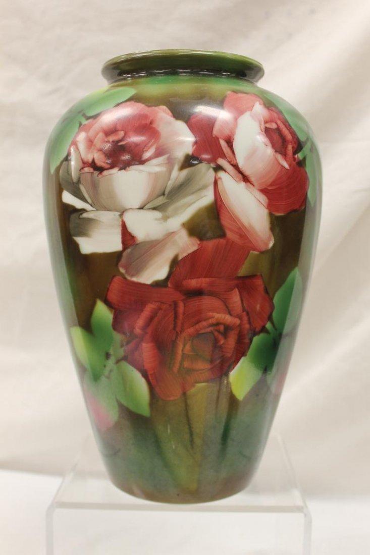 "Large 13"" Bristol vase with rose decoration.  Minor rim"