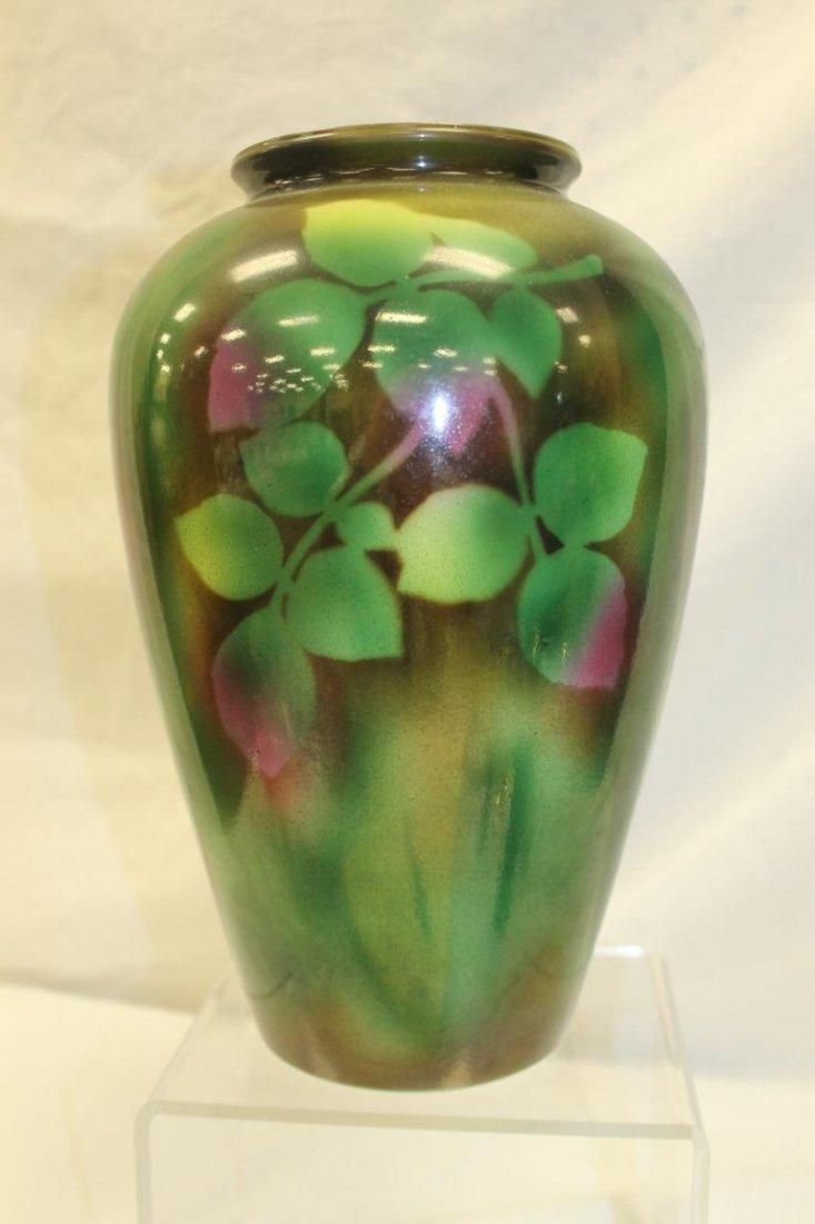"Large 13"" Bristol vase with rose decoration.  Minor rim - 3"