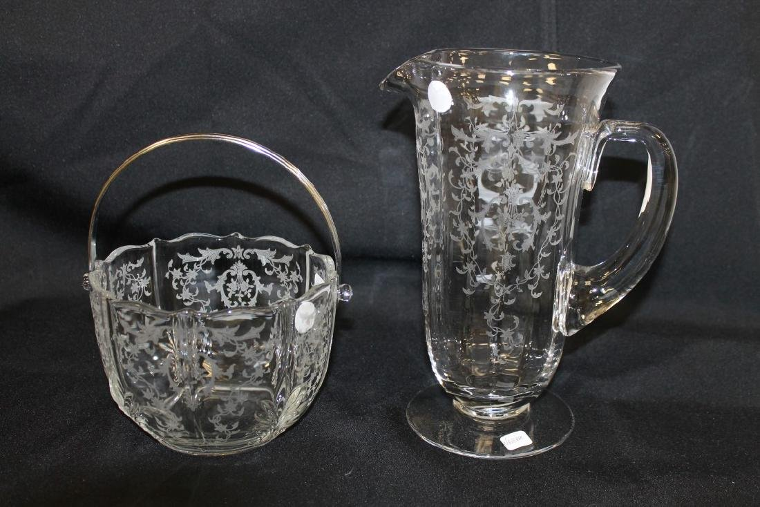 "Fostoria Navarre ice bucket and 9 7/8"" water pitcher"