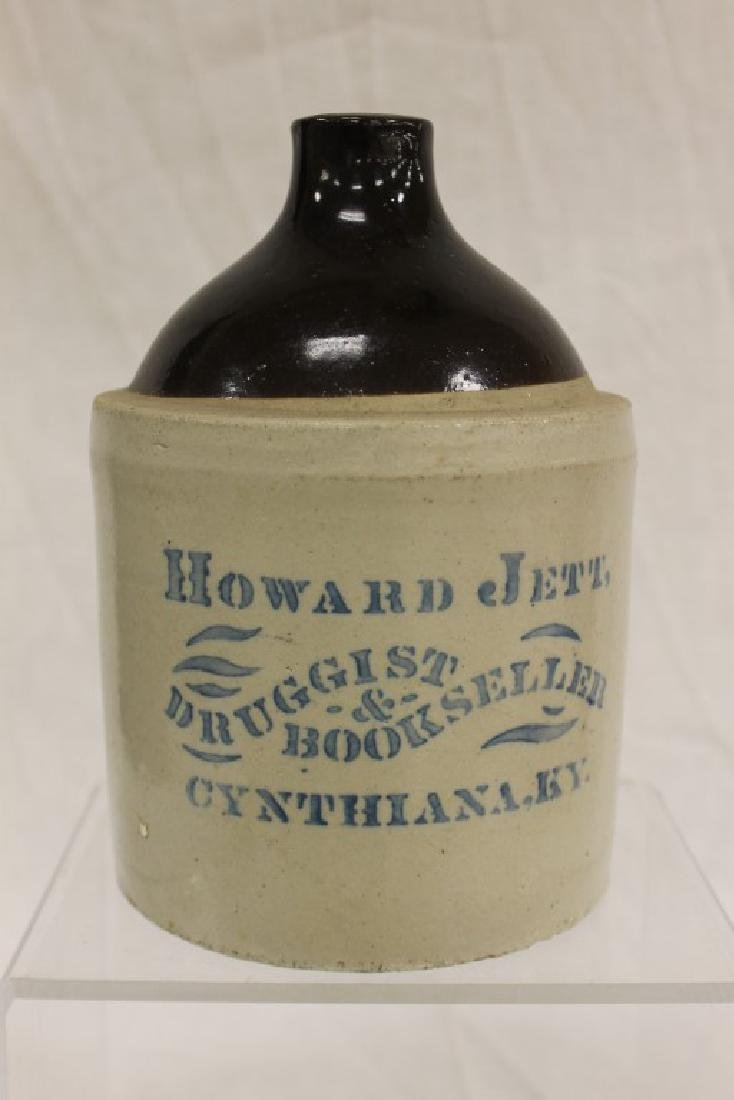 "RARE!!!  Brown and white advertising jug ""Howard jett,"
