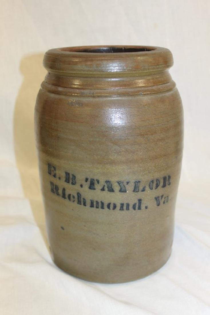 One gallon E. B. Taylor Richmond, Va stone jar with