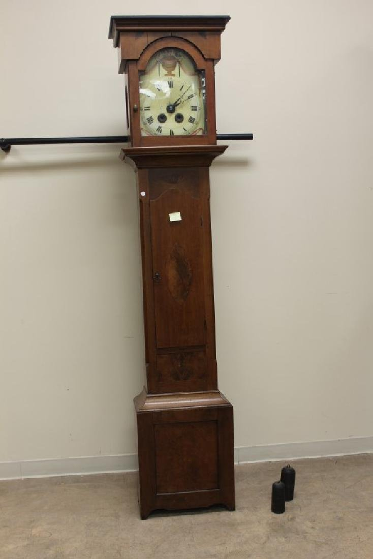 Cherry grandfather clock with burl inlaid ovals,