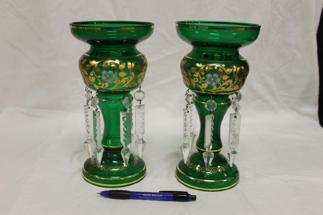 Pair of green mantle lustres with frosted band and gold
