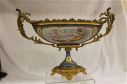 Fine Sevres m ounted porcelain pedestal centerpiece