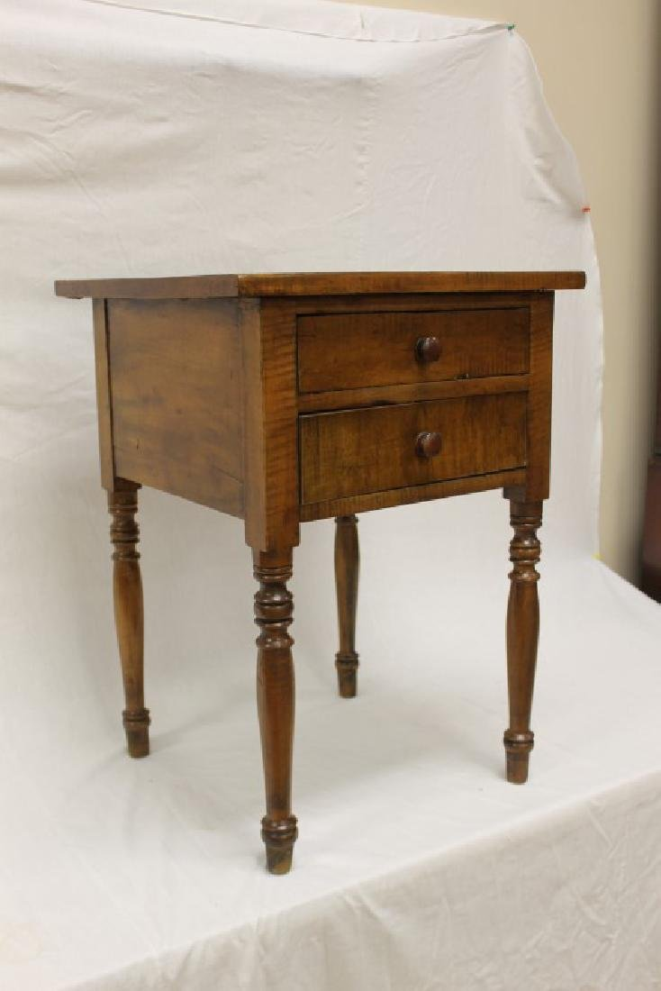 Fine Tiger maple two drawer stand with turned legs and