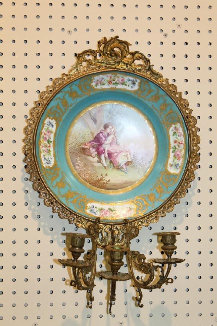 Fine Sevres mounted wall sconce with Courting scene