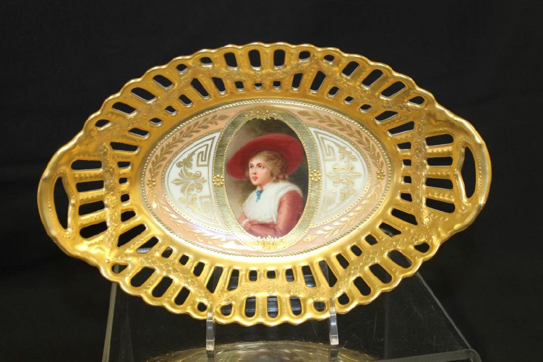 """Germany and Beehive marked 9 3/8"""" X 6"""" reticulated oval"""