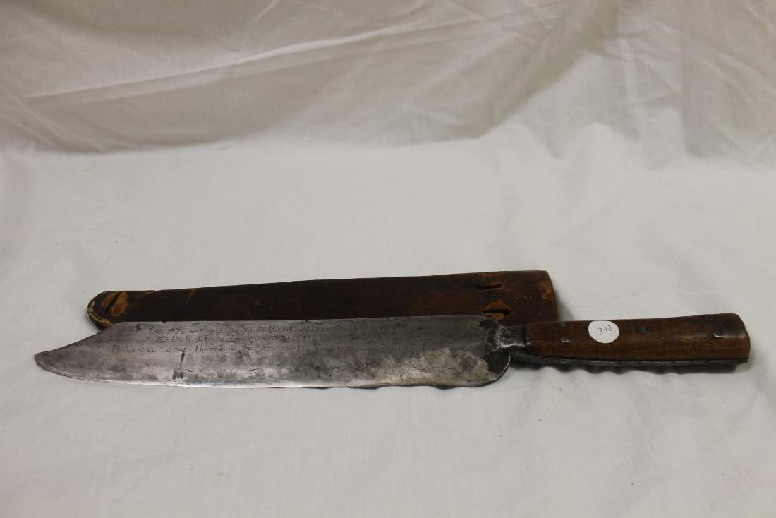 """18 3/8"""" Bowie knife with wooden handle marked on blade"""