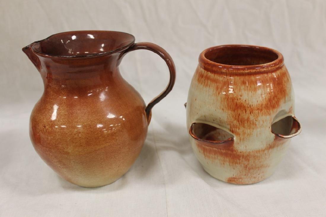 Waco/Bybee unmarked strawberry glaze pieces:  Pitcher