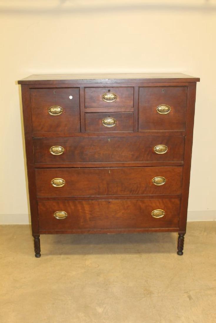 Ohio cherry 7-drawer bonnet chest on spiral turned