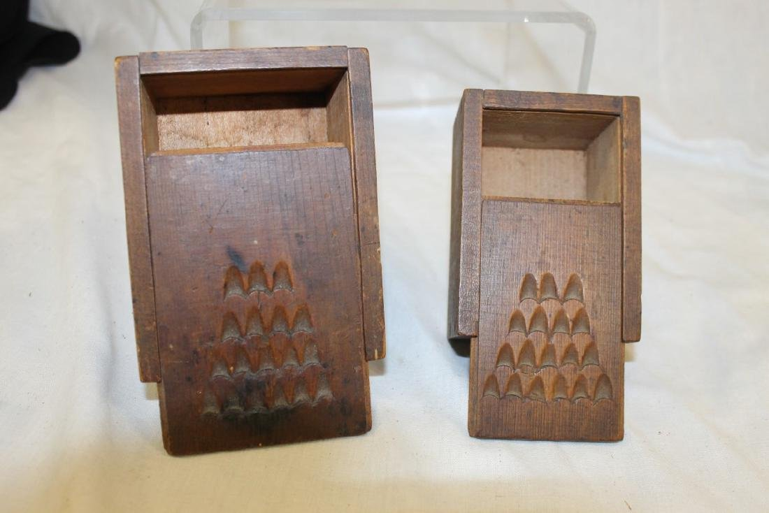 Fine small wooden slide top spice boxes with 18 finger
