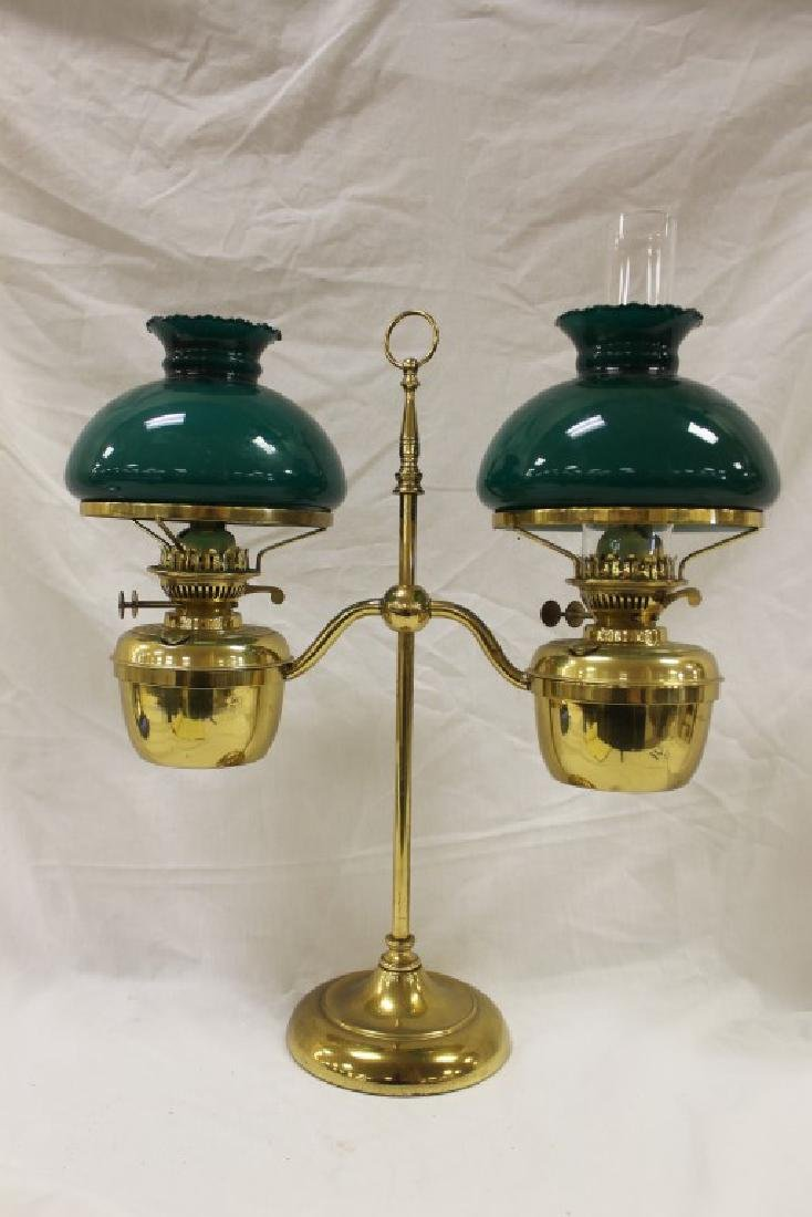 Brass adjustable double student lamp with green cased