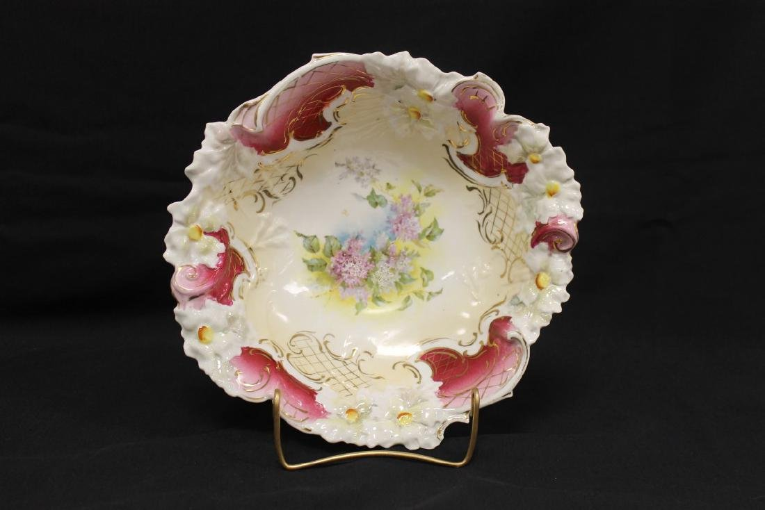 """Unmarked RS Prussia 11 3/8"""" bowl with molded flowers on"""
