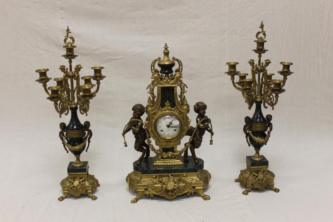 Imperial brass and marble claw foot mantle garniture