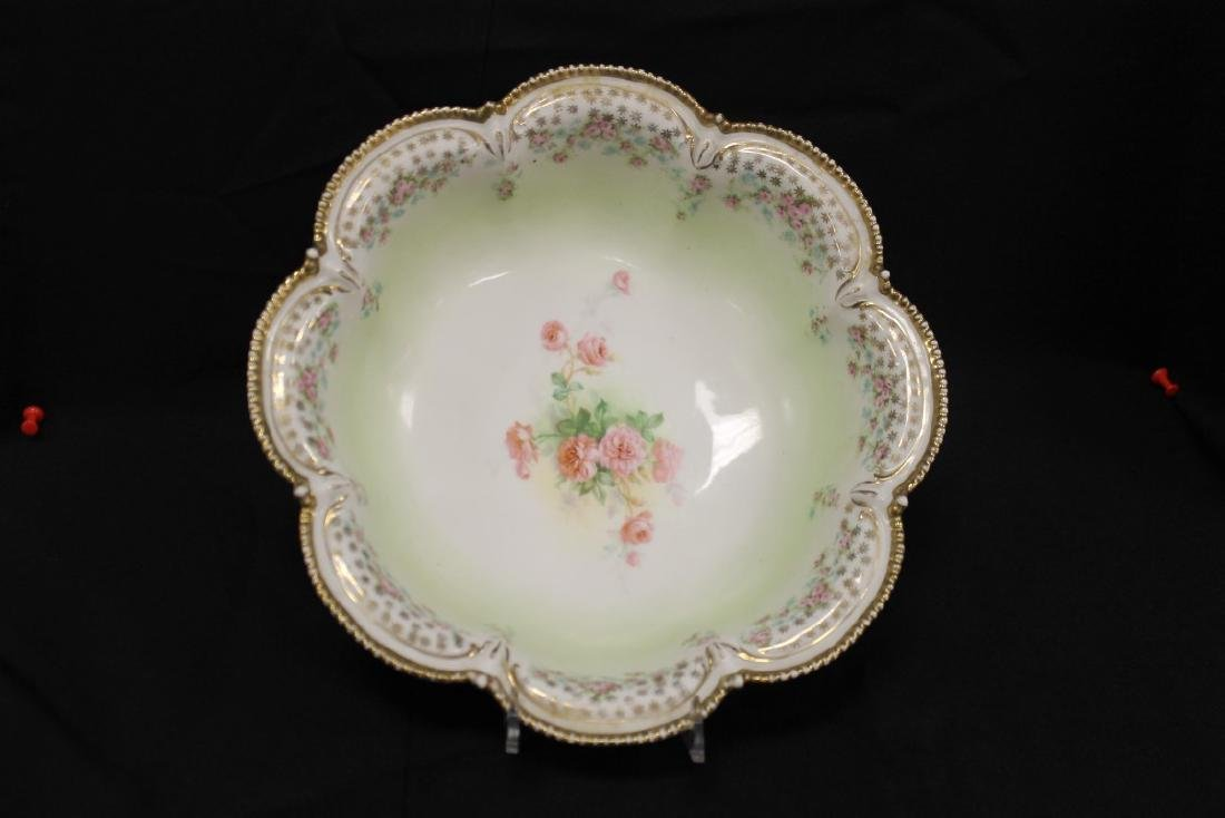 Red mark RS Prussia lobed bowl with roses and beaded