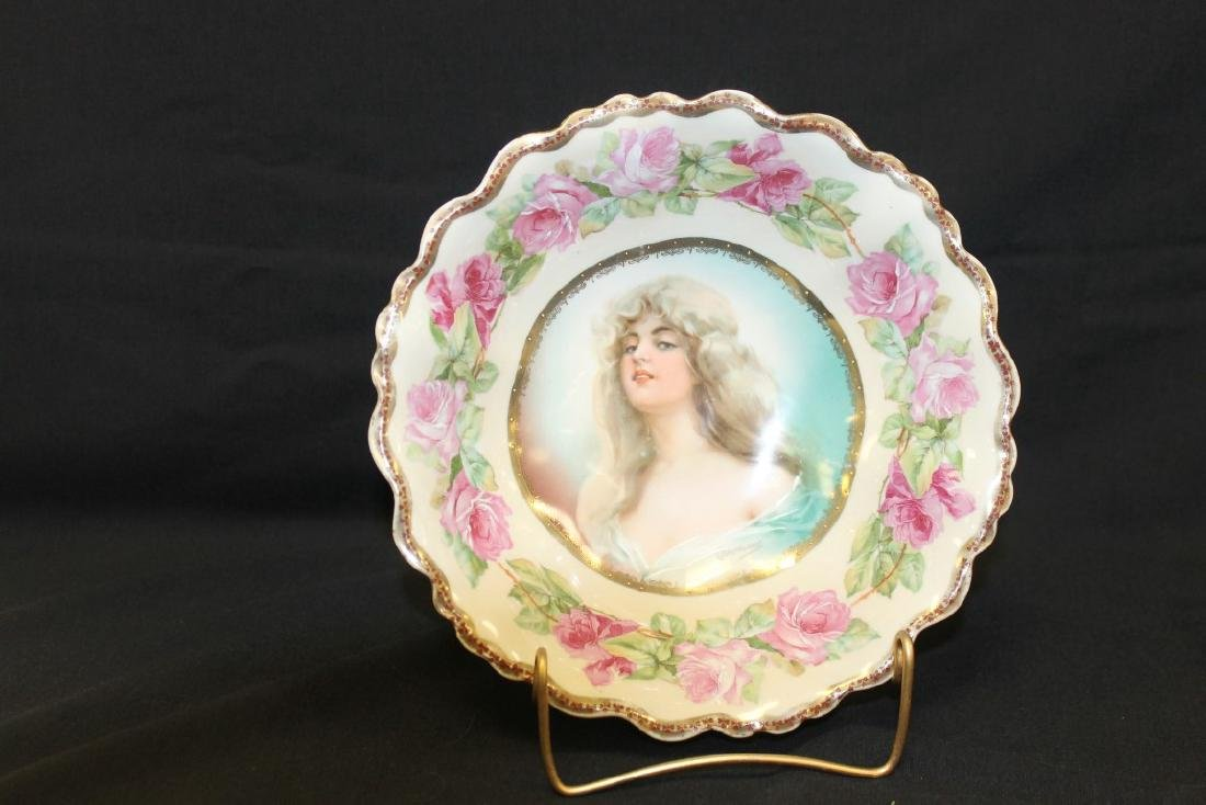 M.Z. Austria portrait bowl with ring of roses, beaded