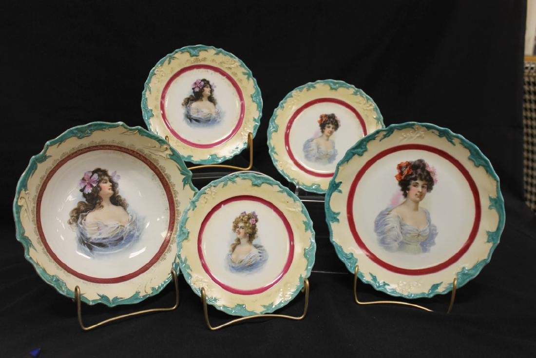Unmarked portrait pieces with maroon center ring and