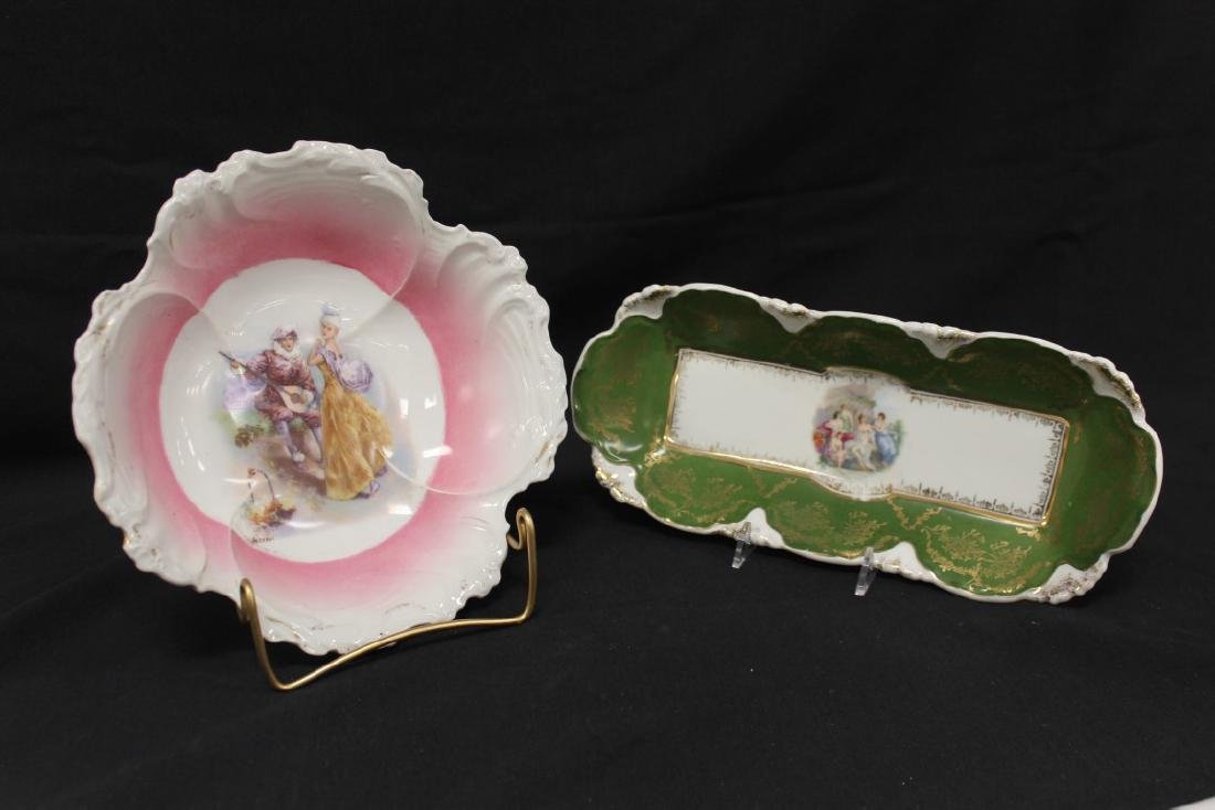Unmarked courting scene bowl with pink ground, with