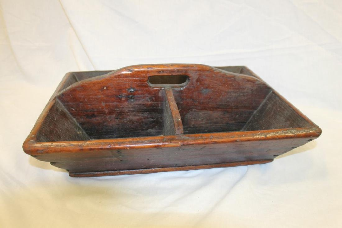 Early divided pine carrier with cut out handle.  One