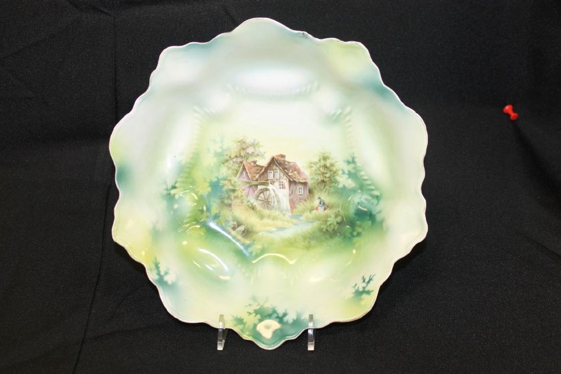 """Red mark RS Prussia mill scene 9 1/2"""" bowl.  Repaired"""